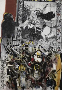 عبد القادري «26 فبراير 2015»، (زيت وفحم على كانفاس ـــ 145 × 90 سنتم ــ 2015 ـ بإذن من غاليري «البارح»)