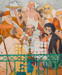 «المقهى» (زيت على كانفاس ـــ 110 × 90 سنتم ـــ 1979 ـ مجموعة غسان الخطيب)