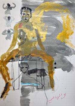 من دون عنوان للفنان الإماراتي محمد المزروعي (أكريليك على ورق ـــ 101 × 72 سنتم ــ 2015)
