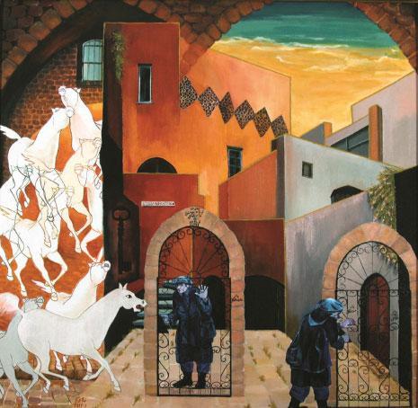 لوحة زيتية لتمام الأكحل بعنوان «شوشانا فنكلشتاين تحتل بيتي وتحوّله إلى صالة عرض وأغلقت الباب في وجهي»