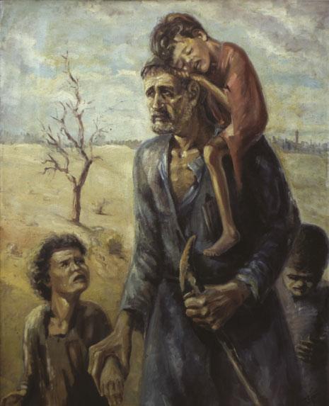 لوحة «إلى أين» التي تعتبر من أشهر أعمال شموط في بداياته في سنة 1952