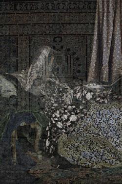 مجيدة خطاري «فيدار» (طباعة حبر على كانفاس ـــ عدد 1 ومسودة الفنانة ـ 2017)