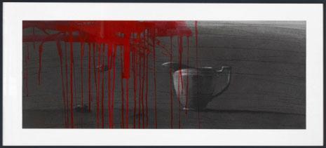 «مزهرية ودم» (فحم وأكريليك على ورق ـــ 40 × 100 سنتم ـــ 2014)