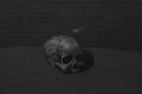 «جمجمة وفراشة» (فحم على ورق ــ 150 × 150 ــ 2012)