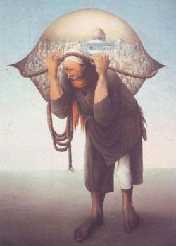 لوحة «جبل المحامل» للتشكيلي الفلسطيني سليمان منصور (1947)