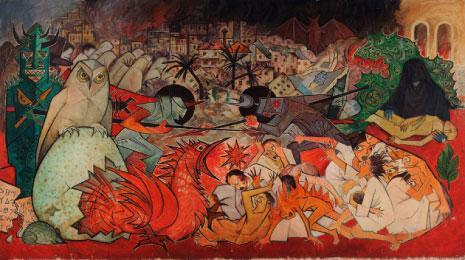 «وحش الحرب» (زيت على كانفاس ـــ 208 × 370 سنتم ــ 1977 ــ مجموعة سارادار)