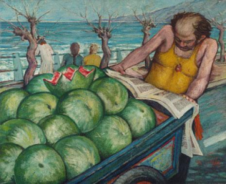 «بائع البطيخ» (زيت على كانفاس ـــ 89 × 107 سنتم ـــ 1981 ـــ مجموعة الفضل شلق)