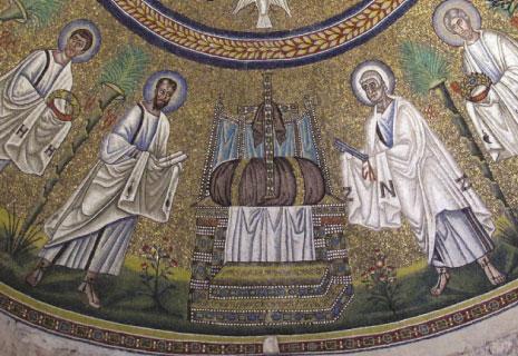 «العرش الخلي من الملوك!» مع الصليب المرصع - القرن الخامس. (Wikimedia Commons )