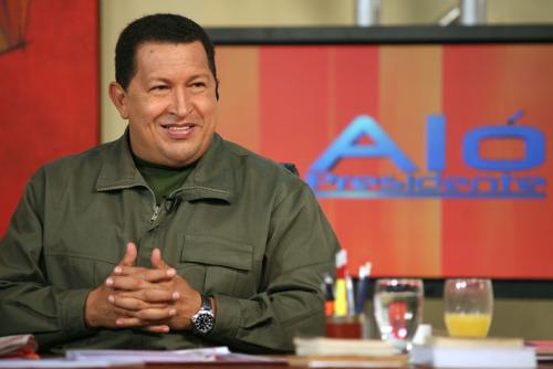 الرئيس شافيز في احدى حلقات البرنامج