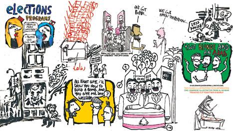 ib kjeldsmark ـ jenz koudahl ــ  مازن كرباج: رسامان من جريدة