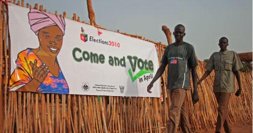 ملصق اعلاني يدعو مواطني جنوب السودان للمشاركة في الانتخابات (أ ف ب)