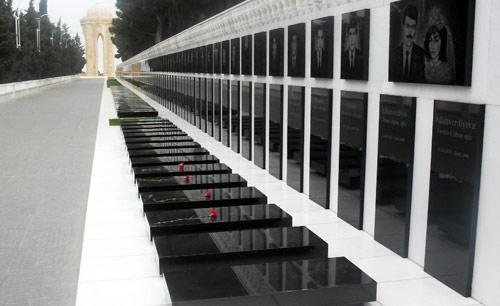 جانب من مقبرة الشهداء في باكو (الأخبار)