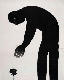 صادق كويش الفراجي «يمكنك أخذ استراحة» (حبر هندي وفحم وورق على كانفاس ـــ 2012)