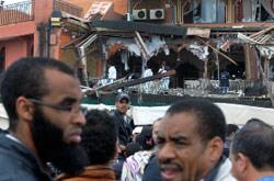 المقهى الذي تعرّض للتفجير في مراكش أمس (طارق نجماوي ــ أ ب)