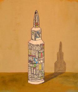 «نحن في رصاصة»  للسوري محمد خياطة (أكريليك على كانفاس ــ 70×60 سنتم ــ 2013)