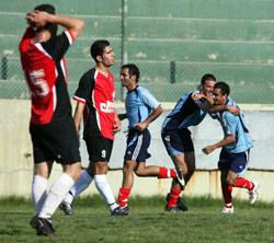 لقطة فرح من فوز الأهلي على الإصلاح في مرحلة الإياب (أرشيف ـ حسن بحسون)