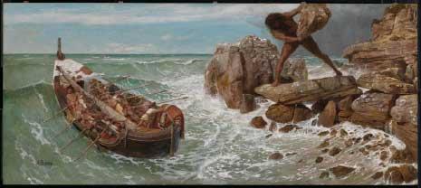 «أوديسيوس وبوليفيموس» للسويسري آرنولد بوكلين  (زيت على لوح ــ 66×150 سنتم ــ 1896)