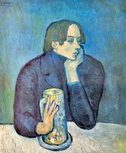 «زجاجة البيرة» (زيت على كانفاس ــ 82×66 سنتم ــ 1902) لبابلو بيكاسو