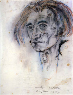 أنتونان آرتو ــ بورتريه ذاتي (رصاص وطبشور ملوّن على ورق ــ  1947)