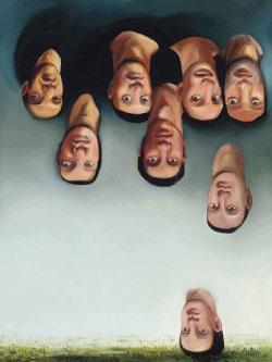 «إنها تمطر رجالاً» لنيكول إيزنمان (زيت على كانفاس ــ 61 × 45.7 سنتم ــ 1999)