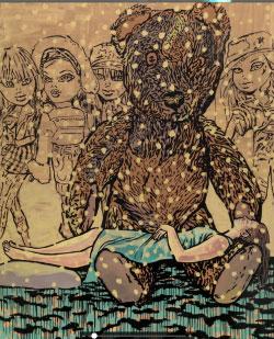جولانا كيزيكايتي «كان يا ما كان» (أكريليك على كانفاس ـــ 275 × 195 سنتم ـــ 2016)