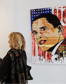 يقيم فنانون أميركيون وفرنسيون معرضا لدعم أوباما ما بين 3 ت1 حتى 17 ت2 في باريس (بوريس هورفات  ــ أ ف ب)
