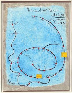 «الرشيدية» من مجموعة «الأنروا» لمروان رشماوي (فحم وأكريليك على لوح خشبي مثبت على خشب ــ 122×90 سنتم ــ 2012)