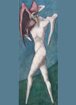 «الصبي والعصفور» للإيراني بهمان محصص (زيت على كانفاس ــ 200×70 سنتم ــ 1966)