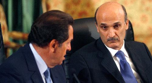 سمير جعجع وبطرس حرب خلال أولى جلسات الحوار في بعبدا (مروان طحطح)