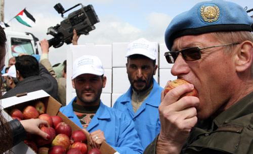 تفاح الجولان لدى وصوله الى معبر القنيطرة (لؤي بشارة - أ ف ب)